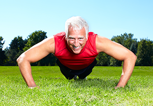 Over 50 personal trainer press ups